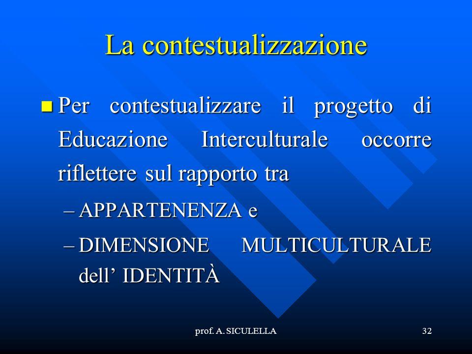 prof. A. SICULELLA32 La contestualizzazione Per Per contestualizzare il progetto di Educazione Interculturale occorre riflettere sul rapporto tra –APP