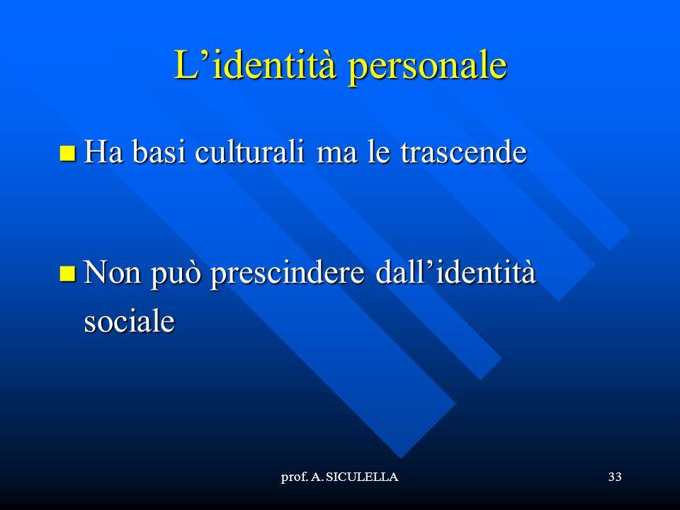 prof. A. SICULELLA33 Lidentità personale Ha Ha basi culturali ma le trascende Non Non può prescindere dallidentità sociale