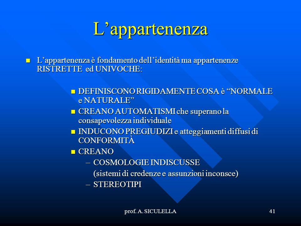 prof. A. SICULELLA41 Lappartenenza Lappartenenza Lappartenenza è fondamento dellidentità ma appartenenze RISTRETTE ed UNIVOCHE: DEFINISCONO DEFINISCON
