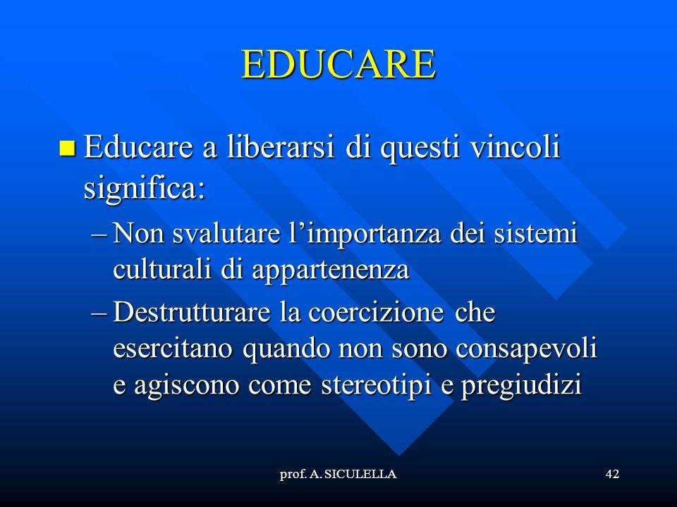 prof. A. SICULELLA42 EDUCARE Educare Educare a liberarsi di questi vincoli significa: –Non –Non svalutare limportanza dei sistemi culturali di apparte