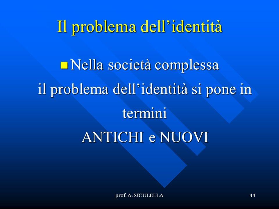 prof. A. SICULELLA44 Il problema dellidentità Nella società complessa il problema dellidentità si pone in termini ANTICHI e NUOVI Nella società comple