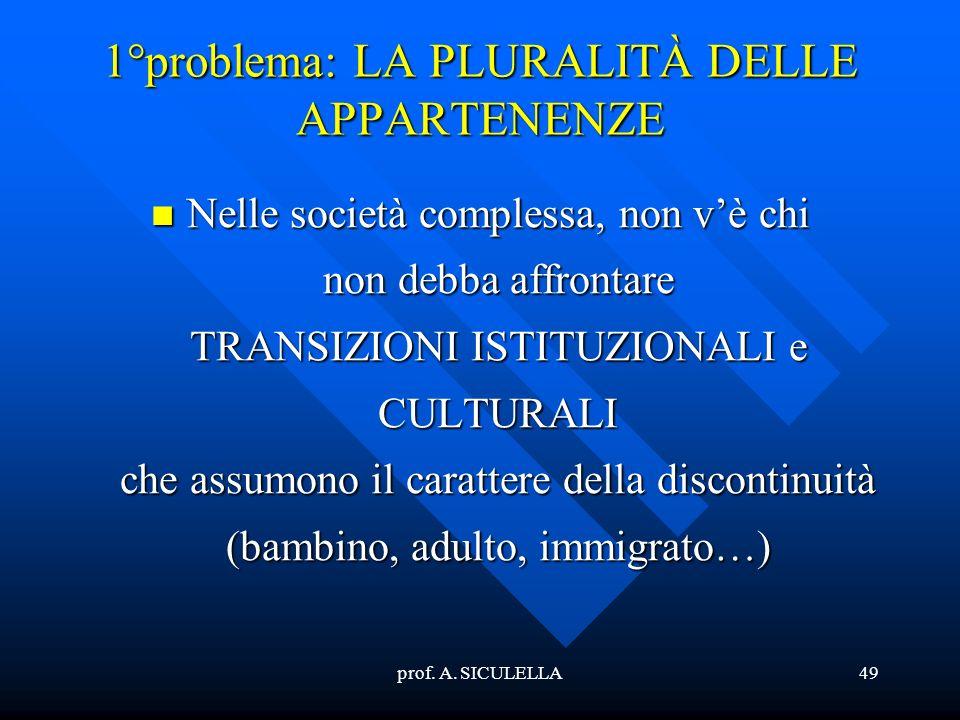 prof. A. SICULELLA49 1°problema: LA PLURALITÀ DELLE APPARTENENZE Nelle Nelle società complessa, non vè chi non debba affrontare TRANSIZIONI ISTITUZION