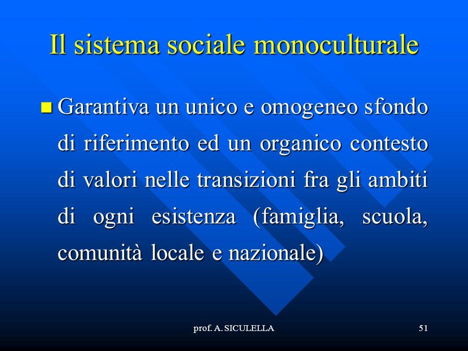 prof. A. SICULELLA51 Il sistema sociale monoculturale Garantiva Garantiva un unico e omogeneo sfondo di riferimento ed un organico contesto di valori