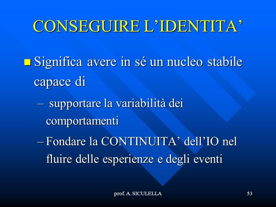 prof. A. SICULELLA53 CONSEGUIRE LIDENTITA Significa Significa avere in sé un nucleo stabile capace di –supportare la variabilità dei comportamenti –Fo