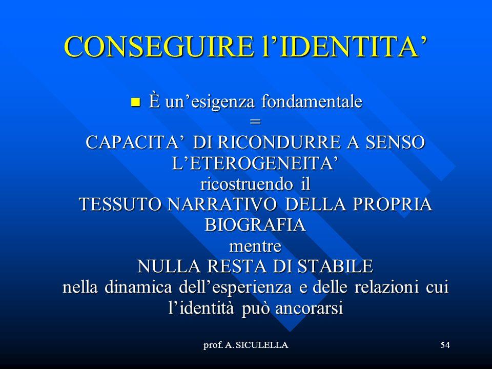 prof. A. SICULELLA54 CONSEGUIRE lIDENTITA Èunesigenza fondamentale = CAPACITA DI RICONDURRE A SENSO LETEROGENEITA ricostruendo il TESSUTO NARRATIVO DE