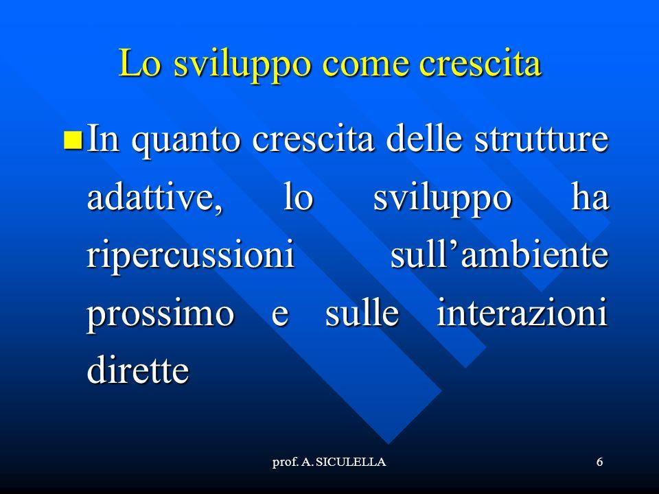 prof. A. SICULELLA6 Lo sviluppo come crescita In In quanto crescita delle strutture adattive, lo sviluppo ha ripercussioni sullambiente prossimo e sul