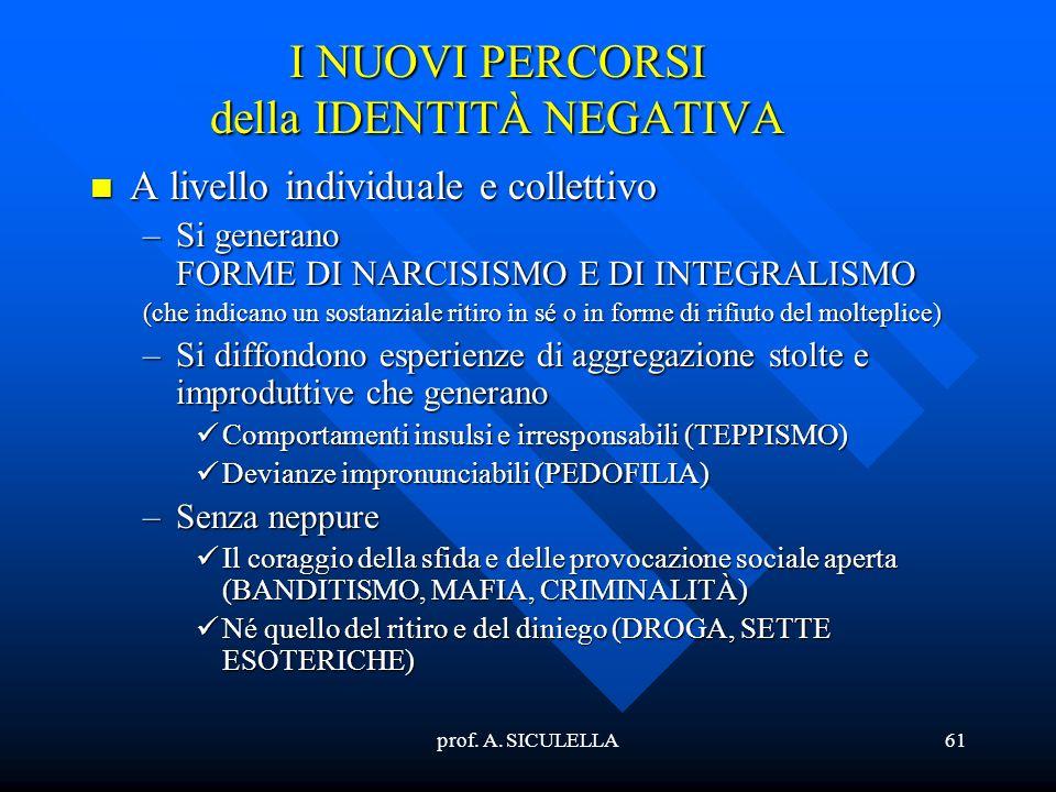 prof. A. SICULELLA61 I NUOVI PERCORSI della IDENTITÀ NEGATIVA Alivello individuale e collettivo –Si –Si generano FORME DI NARCISISMO E DI INTEGRALISMO