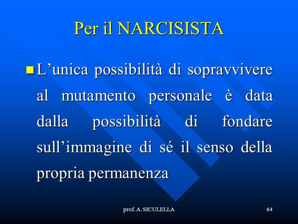 prof. A. SICULELLA64 Per il NARCISISTA Lunica Lunica possibilità di sopravvivere al mutamento personale è data dalla possibilità di fondare sullimmagi