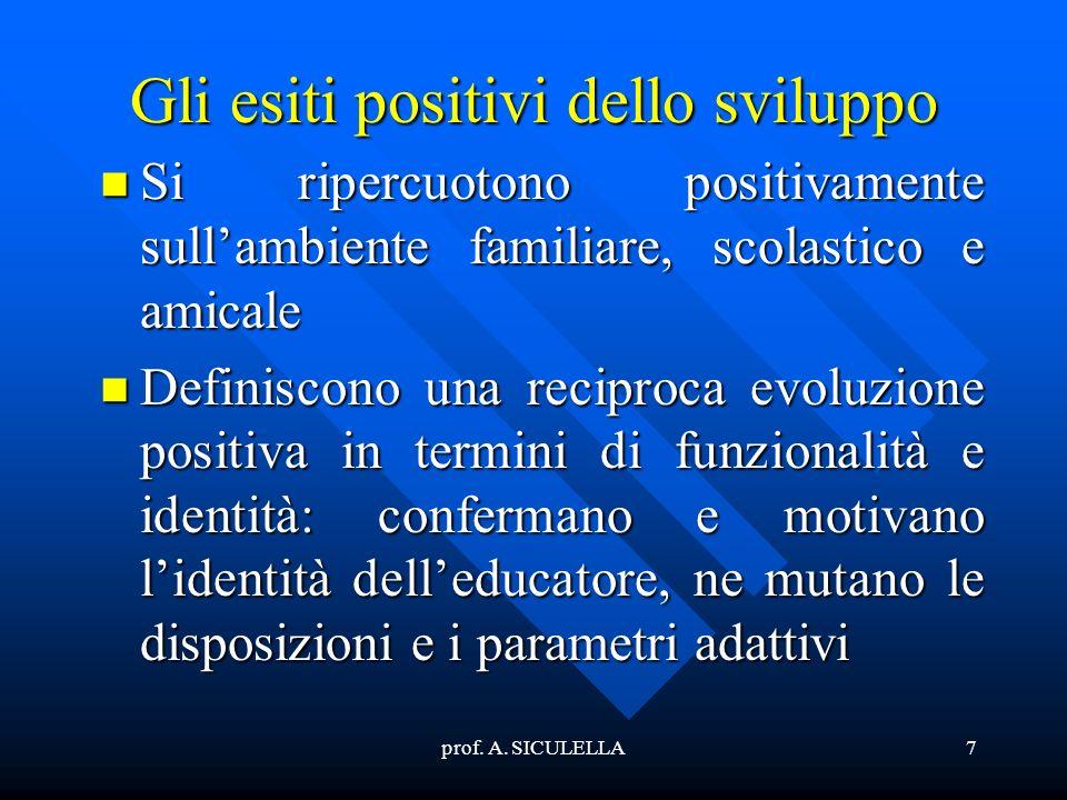 prof. A. SICULELLA7 Gli esiti positivi dello sviluppo Si Si ripercuotono positivamente sullambiente familiare, scolastico e amicale Definiscono Defini