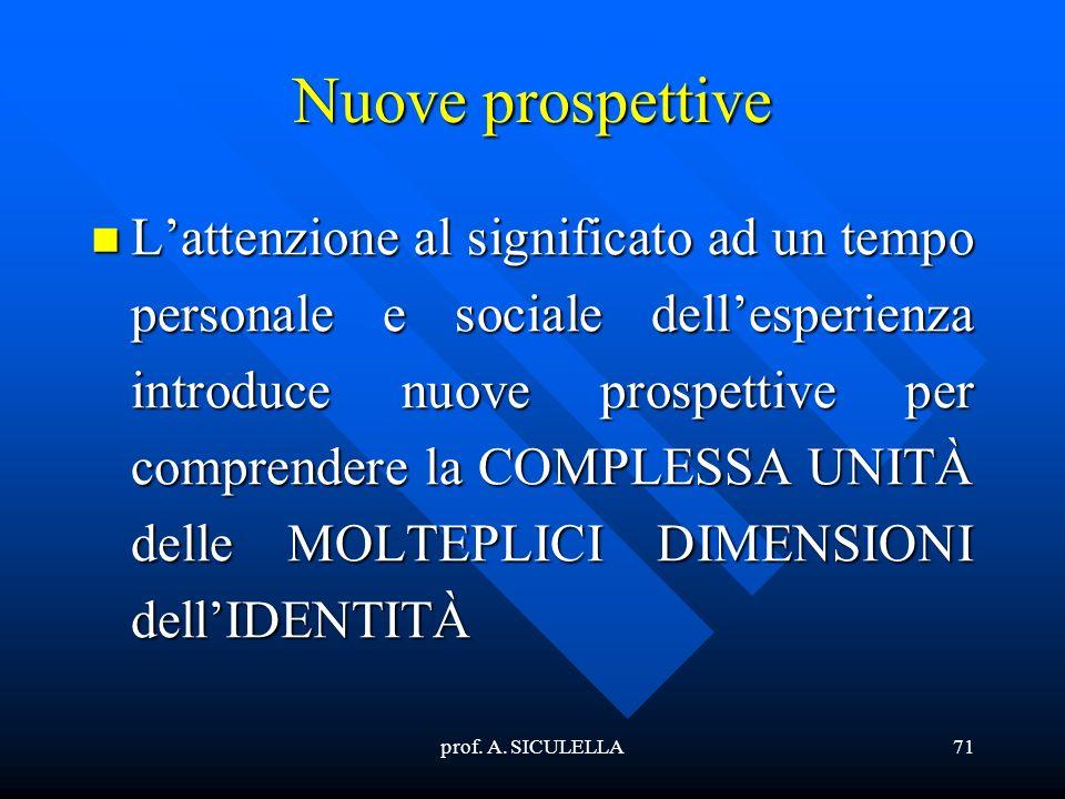 prof. A. SICULELLA71 Nuove prospettive Lattenzione Lattenzione al significato ad un tempo personale e sociale dellesperienza introduce nuove prospetti