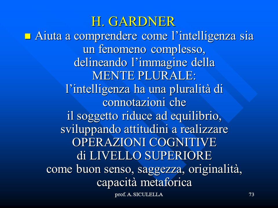 prof. A. SICULELLA73 H. GARDNER Aiuta Aiuta a comprendere come lintelligenza sia un fenomeno complesso, delineando limmagine della MENTE PLURALE: lint