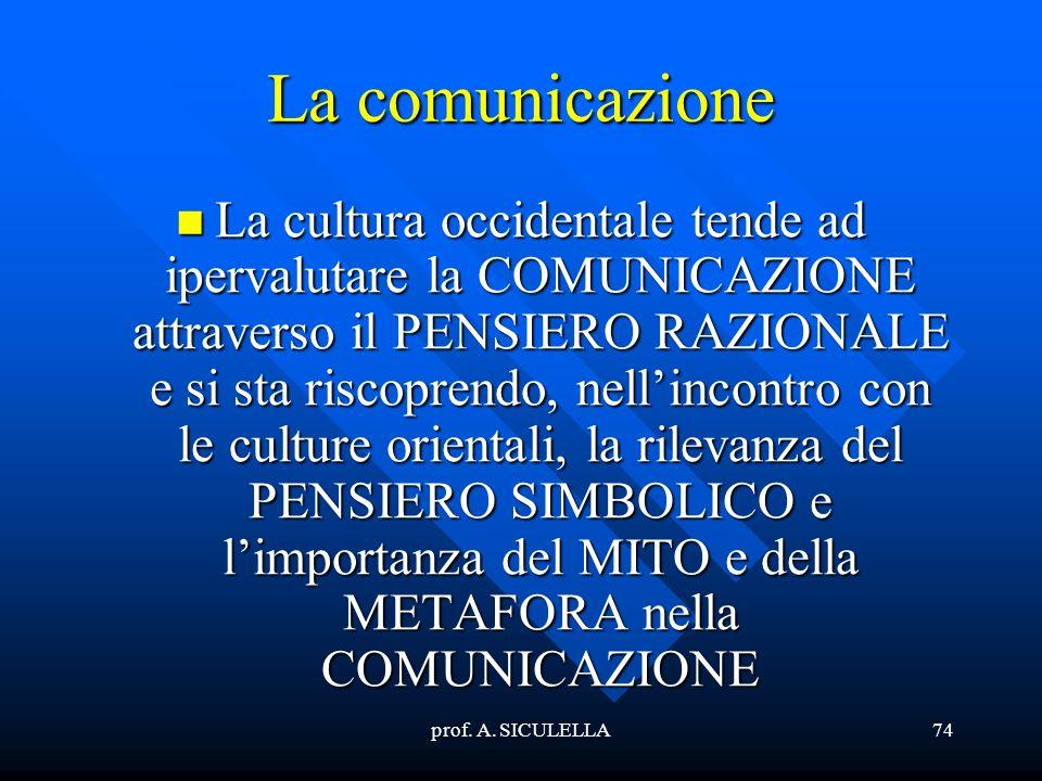 prof. A. SICULELLA74 La comunicazione La La cultura occidentale tende ad ipervalutare la COMUNICAZIONE attraverso il PENSIERO RAZIONALE e si sta risco