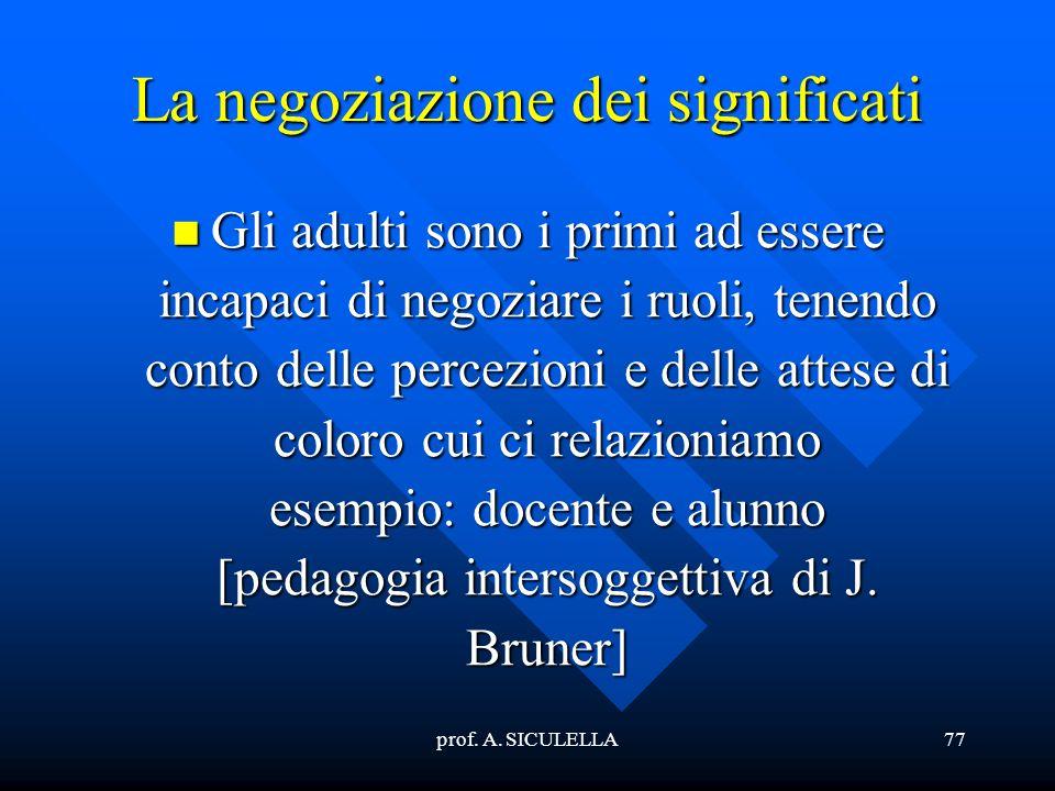 prof. A. SICULELLA77 La negoziazione dei significati Gli Gli adulti sono i primi ad essere incapaci di negoziare i ruoli, tenendo conto delle percezio