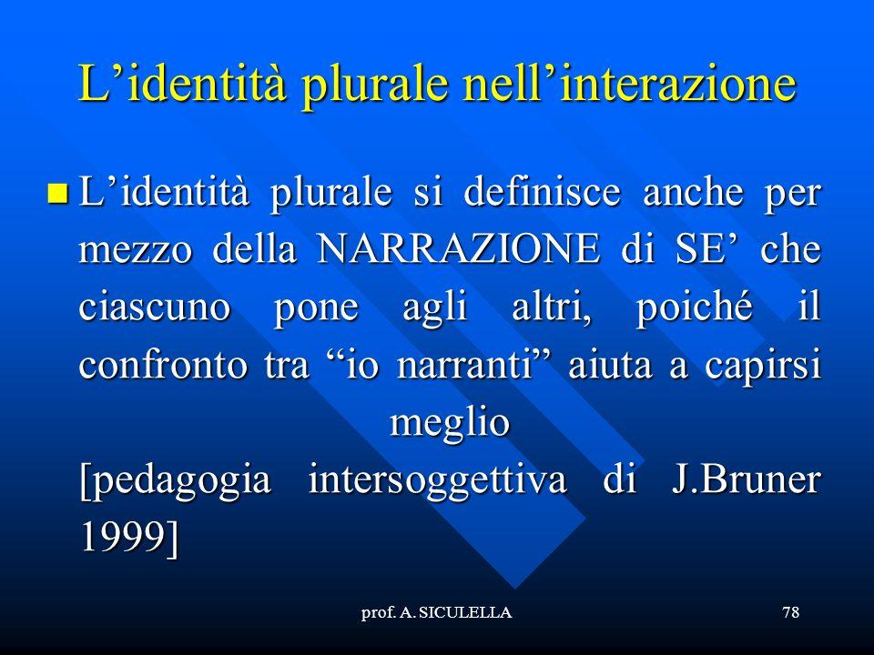 prof. A. SICULELLA78 Lidentità plurale nellinterazione Lidentità plurale si definisce anche per mezzo della NARRAZIONE di SE che ciascuno pone agli al