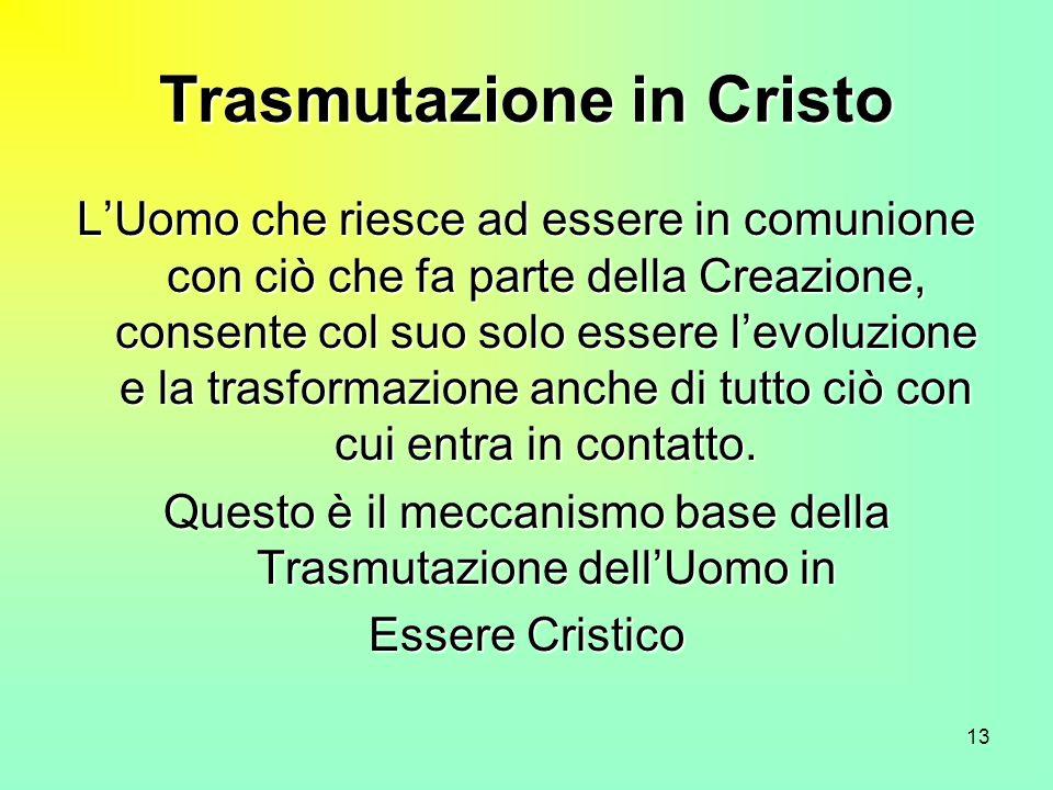 13 Trasmutazione in Cristo LUomo che riesce ad essere in comunione con ciò che fa parte della Creazione, consente col suo solo essere levoluzione e la