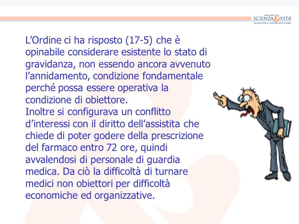 LOrdine ci ha risposto (17-5) che è opinabile considerare esistente lo stato di gravidanza, non essendo ancora avvenuto lannidamento, condizione fonda