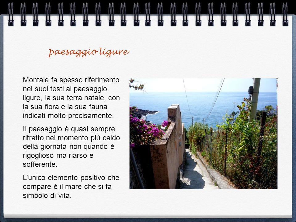 paesaggio ligure Montale fa spesso riferimento nei suoi testi al paesaggio ligure, la sua terra natale, con la sua flora e la sua fauna indicati molto