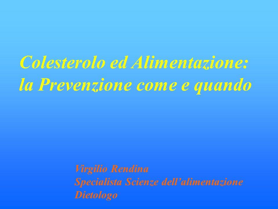 Colesterolo ed Alimentazione: la Prevenzione come e quando Virgilio Rendina Specialista Scienze dellalimentazione Dietologo