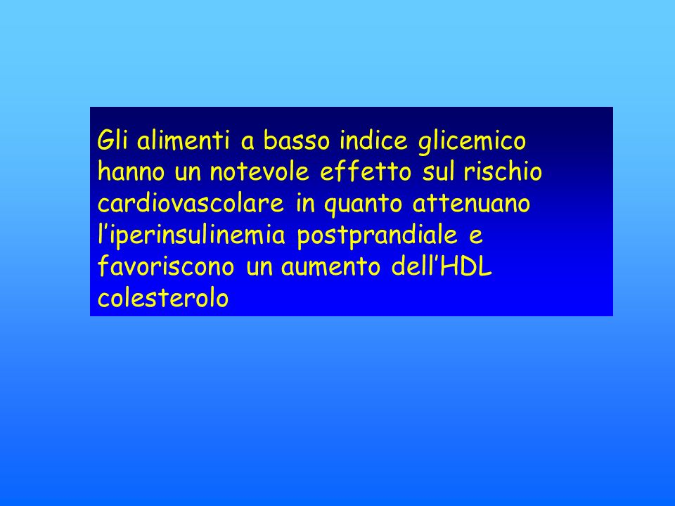 Gli alimenti a basso indice glicemico hanno un notevole effetto sul rischio cardiovascolare in quanto attenuano liperinsulinemia postprandiale e favoriscono un aumento dellHDL colesterolo
