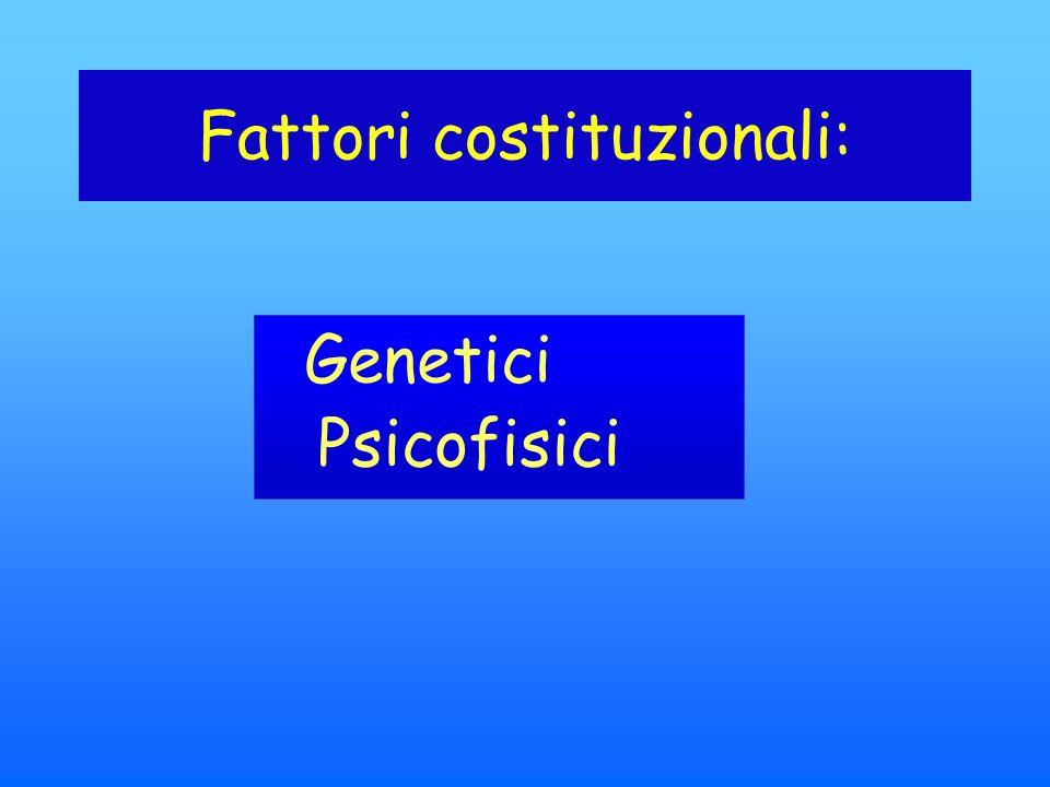 Fattori costituzionali: Genetici Psicofisici