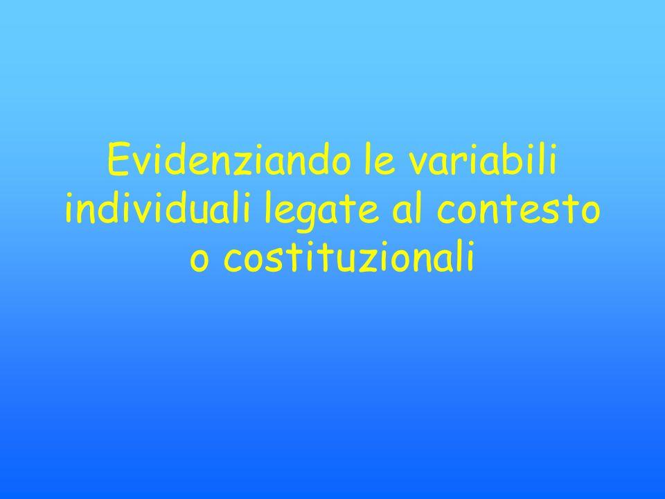 Evidenziando le variabili individuali legate al contesto o costituzionali