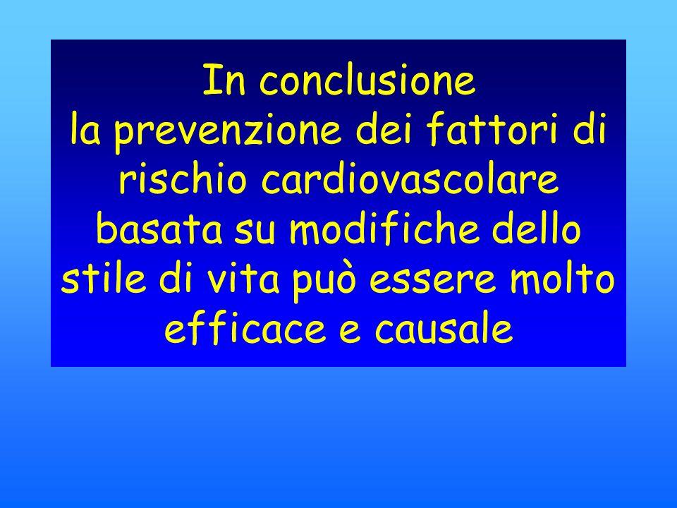 In conclusione la prevenzione dei fattori di rischio cardiovascolare basata su modifiche dello stile di vita può essere molto efficace e causale