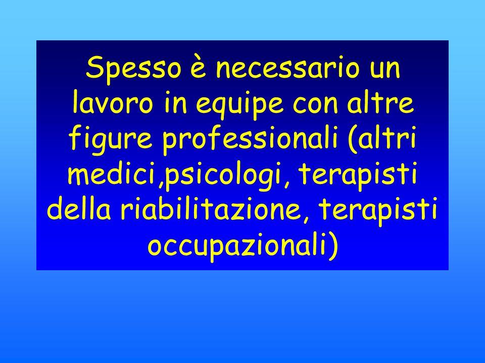 Spesso è necessario un lavoro in equipe con altre figure professionali (altri medici,psicologi, terapisti della riabilitazione, terapisti occupazionali)
