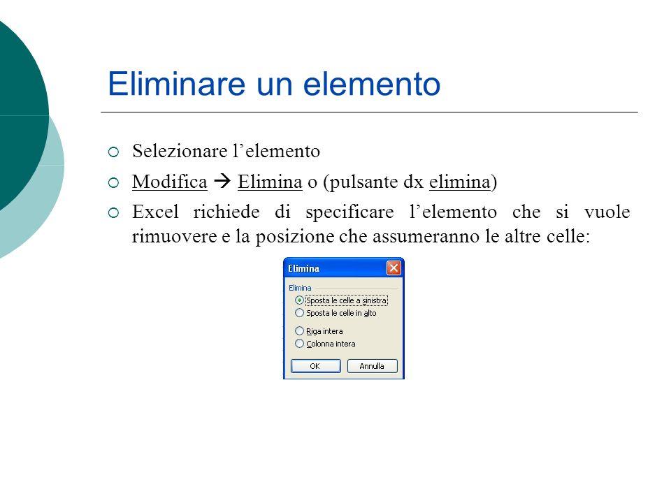 Eliminare un elemento Selezionare lelemento Modifica Elimina o (pulsante dx elimina) Excel richiede di specificare lelemento che si vuole rimuovere e la posizione che assumeranno le altre celle:
