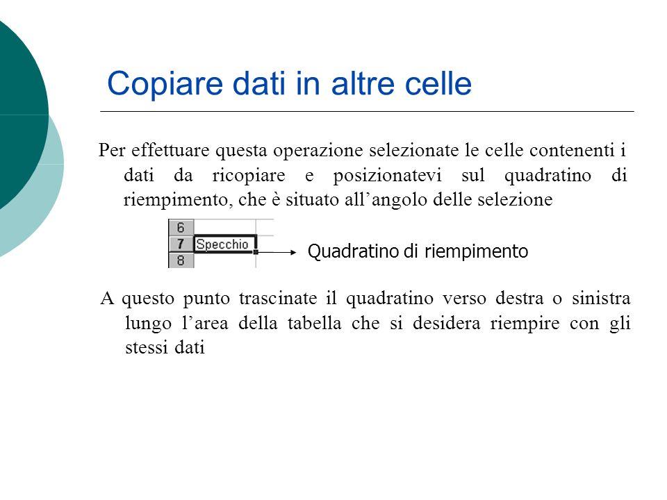 Copiare dati in altre celle Per effettuare questa operazione selezionate le celle contenenti i dati da ricopiare e posizionatevi sul quadratino di riempimento, che è situato allangolo delle selezione Quadratino di riempimento A questo punto trascinate il quadratino verso destra o sinistra lungo larea della tabella che si desidera riempire con gli stessi dati