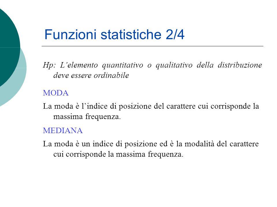 Funzioni statistiche 2/4 La moda è lindice di posizione del carattere cui corrisponde la massima frequenza.
