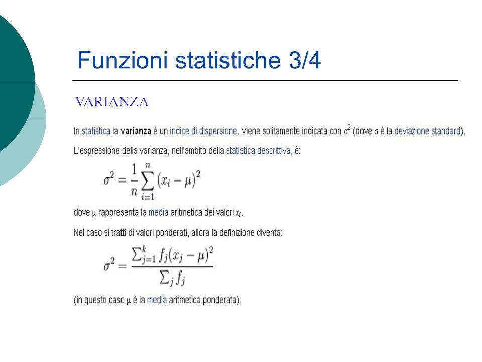 Funzioni statistiche 3/4 VARIANZA