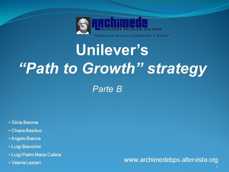1 Unilevers Path to Growth strategy Parte B Silvia Barone Chiara Basilico Angelo Bianca Luigi Bianchini Luigi Pietro Maria Calleia Valeria Lazzari www