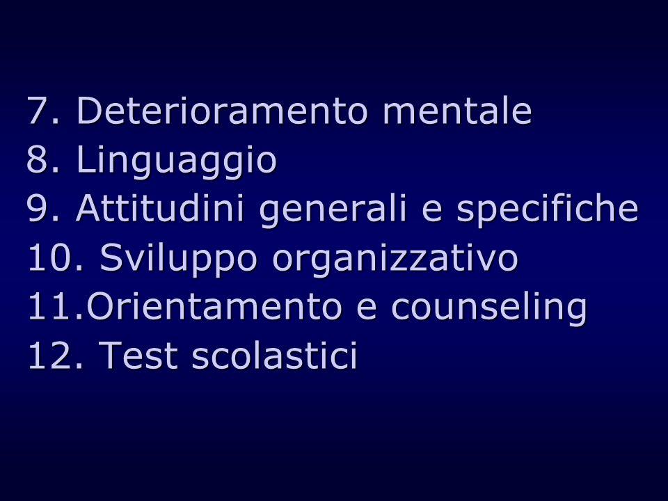 7. Deterioramento mentale 8. Linguaggio 9. Attitudini generali e specifiche 10. Sviluppo organizzativo 11.Orientamento e counseling 12. Test scolastic