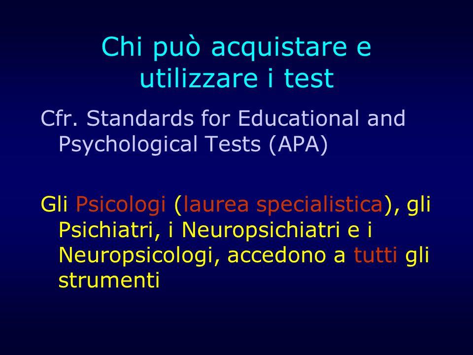 Chi può acquistare e utilizzare i test Cfr. Standards for Educational and Psychological Tests (APA) Gli Psicologi (laurea specialistica), gli Psichiat