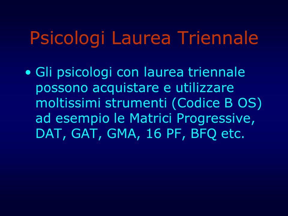 Psicologi Laurea Triennale Gli psicologi con laurea triennale possono acquistare e utilizzare moltissimi strumenti (Codice B OS) ad esempio le Matrici