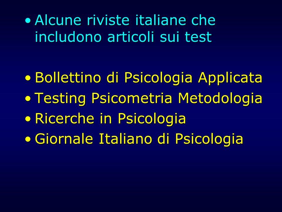 Alcune riviste italiane che includono articoli sui testAlcune riviste italiane che includono articoli sui test Bollettino di Psicologia ApplicataBolle