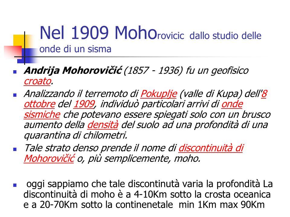 Nel 1909 Moho rovicic dallo studio delle onde di un sisma Andrija Mohorovičić (1857 - 1936) fu un geofisico croato. croato Analizzando il terremoto di