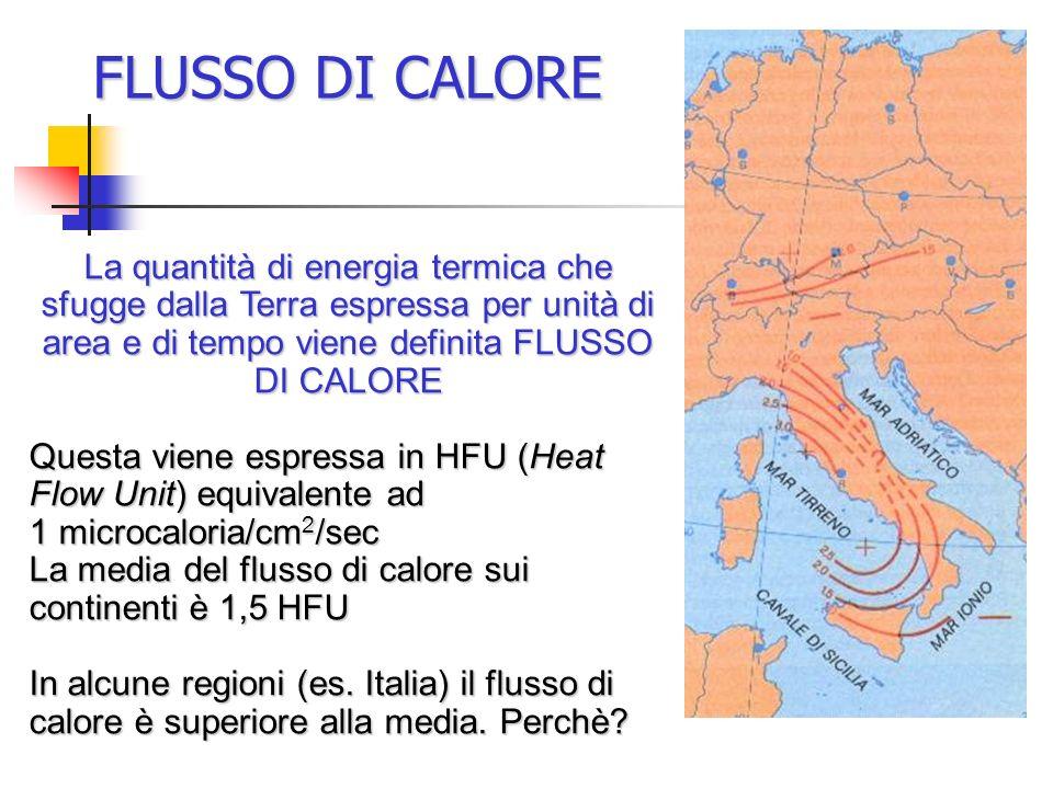 FLUSSO DI CALORE La quantità di energia termica che sfugge dalla Terra espressa per unità di area e di tempo viene definita FLUSSO DI CALORE Questa vi