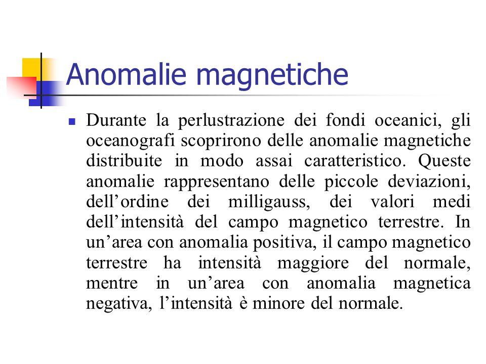 Anomalie magnetiche Durante la perlustrazione dei fondi oceanici, gli oceanografi scoprirono delle anomalie magnetiche distribuite in modo assai carat