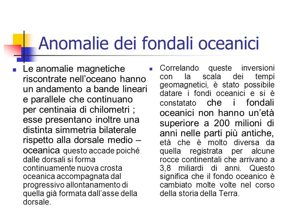 Anomalie dei fondali oceanici Le anomalie magnetiche riscontrate nelloceano hanno un andamento a bande lineari e parallele che continuano per centinai