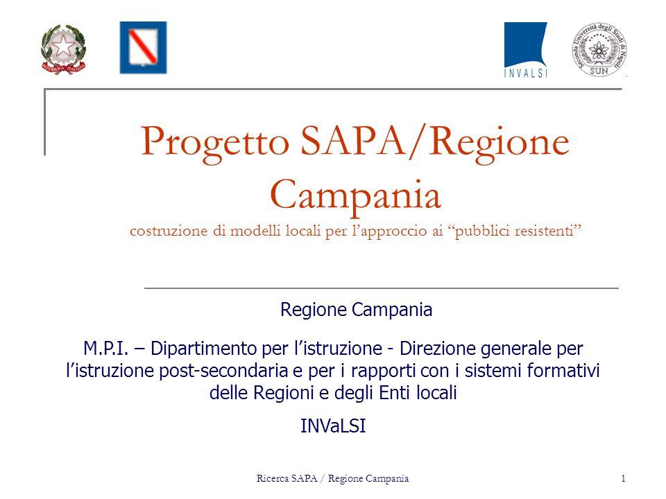 Ricerca SAPA / Regione Campania1 Progetto SAPA/Regione Campania costruzione di modelli locali per lapproccio ai pubblici resistenti Regione Campania M