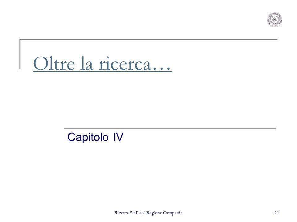 Ricerca SAPA / Regione Campania21 Oltre la ricerca… Capitolo IV