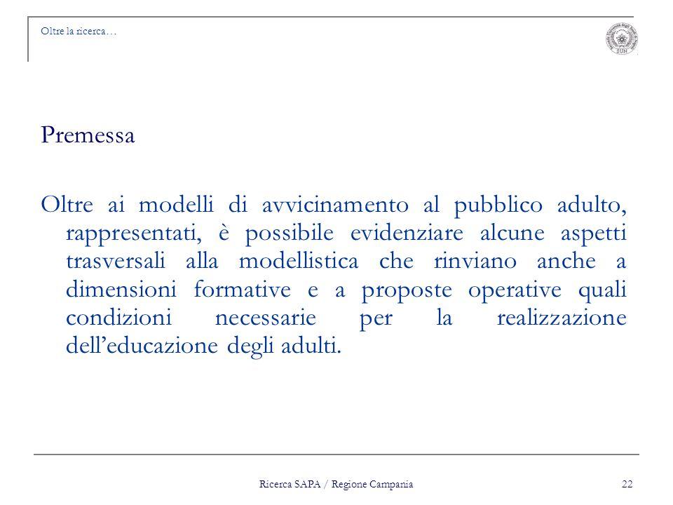 Ricerca SAPA / Regione Campania 22 Oltre la ricerca… Premessa Oltre ai modelli di avvicinamento al pubblico adulto, rappresentati, è possibile evidenz