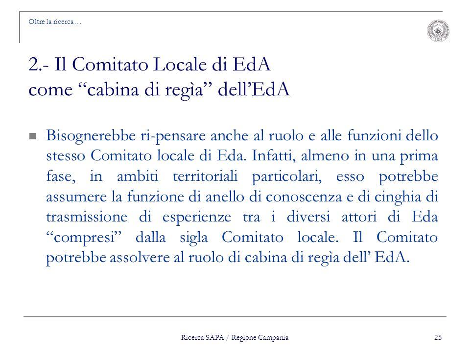 Ricerca SAPA / Regione Campania 25 Oltre la ricerca… 2.- Il Comitato Locale di EdA come cabina di regìa dellEdA Bisognerebbe ri-pensare anche al ruolo