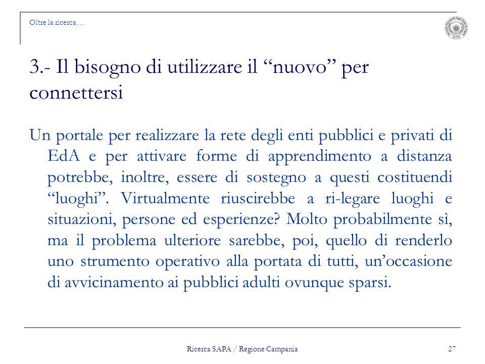 Ricerca SAPA / Regione Campania 27 Oltre la ricerca… 3.- Il bisogno di utilizzare il nuovo per connettersi Un portale per realizzare la rete degli ent