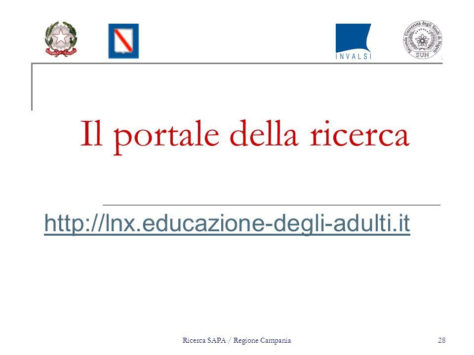 Ricerca SAPA / Regione Campania28 Il portale della ricerca http://lnx.educazione-degli-adulti.it