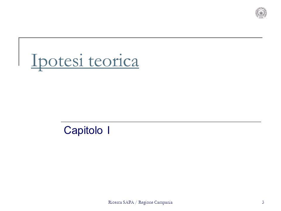 Ricerca SAPA / Regione Campania3 Ipotesi teorica Capitolo I