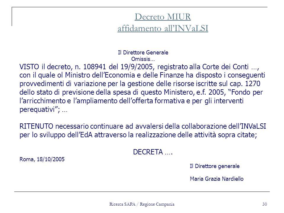 Ricerca SAPA / Regione Campania 30 Decreto MIUR affidamento allINVaLSI Il Direttore Generale Omissis… VISTO il decreto, n. 108941 del 19/9/2005, regis