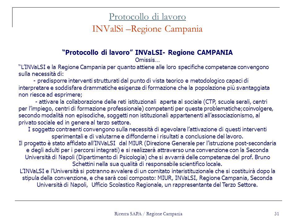 Ricerca SAPA / Regione Campania 31 Protocollo di lavoro Protocollo di lavoro INValSi –Regione Campania Protocollo di lavoro INVaLSI- Regione CAMPANIA
