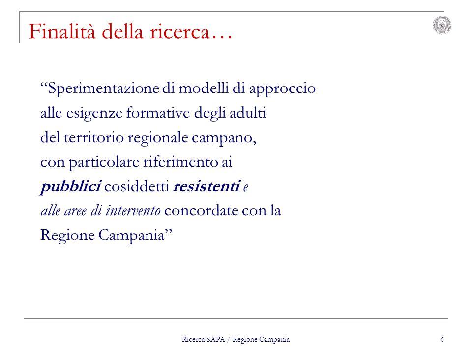 Ricerca SAPA / Regione Campania 6 Finalità della ricerca… Sperimentazione di modelli di approccio alle esigenze formative degli adulti del territorio